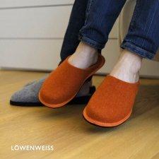 Ciabatta Hygge Bicolore Arancio-Nocciola in feltro di lana