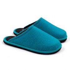Ciabatta Hygge Bicolore Blu Fluo-Antracite in feltro di lana