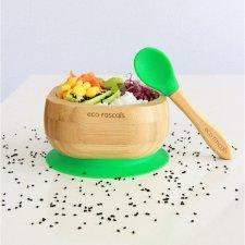 Ciotola con ventosa + cucchiaio in legno di Bamboo e Silicone