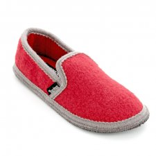 Closed slippers in pure boiled wool Bicolor Red Gray