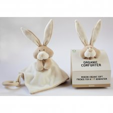 Comforter Bunny in organic cotton with wooden teether