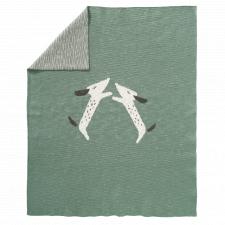 Coperta per lettino Bassotti lavorata a maglia in puro cotone biologico