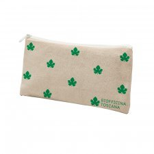 Cosmetic bag in cotton Green Leaves