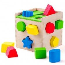 Cubo con incastro delle forme in legno