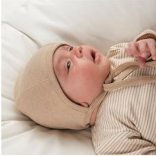 Cuffietta neonato reversibile in cotone biologico naturale