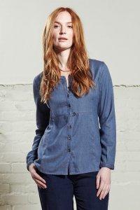 Denim woman shirt in fair trade cotton