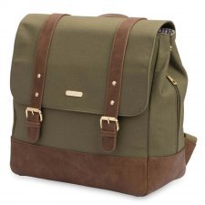 Diaper backpack in cotton canvas and vegan leather Marindale Olive