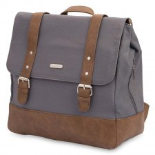 Diaper backpack in cotton canvas and vegan leather Marindale Gray
