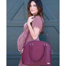 Diaper bag in vegan leather Rotunda Pomegranate