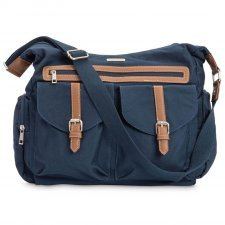 Diaper satchel in cotton canvas and vegan leather Rambler Denim