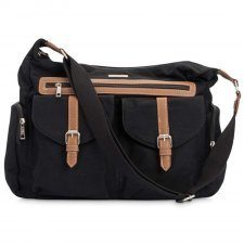 Diaper satchel in cotton canvas and vegan leather Rambler Obsidian