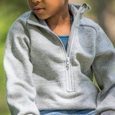 Sweater with zip for children in organic wool