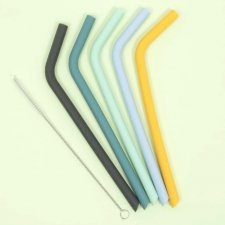 Disposable straws 5 pcs in food-grade silicone, green-blue-yellow