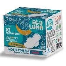 Ecoluna ™ sanitary napkin compostable Night - 10 pcs