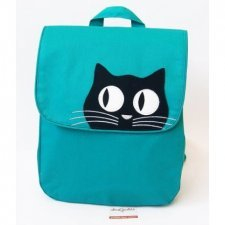 Fair trade backpack Black Cat in cotton