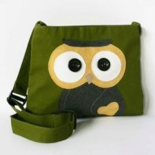 Fair trade shoulder bag Owl in cotton