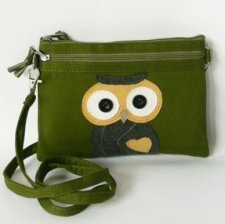 Fair trade small shoulder bag Owl in cotton