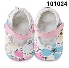 Flowers classic girls soft soled leather baby shoes