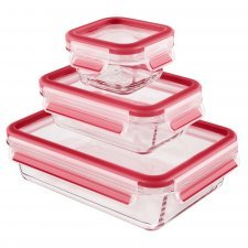Food container in tempered diamond glass 3 pcs