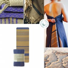 Fouta Sand and Imperial Blue in organic cotton