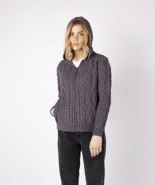 Giacca a maglia Ash Aran da donna con cappuccio in pura lana