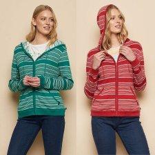 Giacca a maglia con cappuccio Margarete in puro cotone biologico