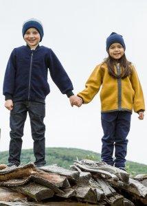 Giacca Milo con cappuccio per bambini in lana cotta biologica
