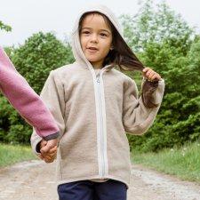 Giacca Milo con cappuccio per bambini in PILE di lana biologica
