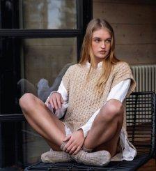 Gilet oversize Aran Fennel da donna in pura lana