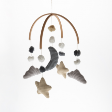 Giostrina Nuvola, Luna e Stelle lavorata a maglia  in Bamboo