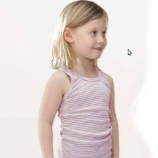 Girl vest pink/grey striped in organic cotton