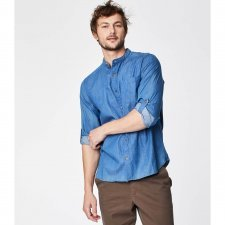 Grandad collar shirt in organic cotton chambray