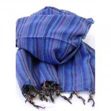 Handcrafted scarf with Blue Stripes in pure Fairtrade cotton