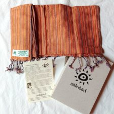 Handcrafted scarf with Orange Stripes in pure Fairtrade cotton