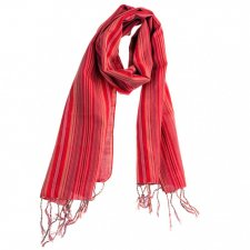 Handcrafted scarf with Red Stripes in pure Fairtrade cotton
