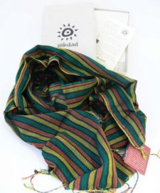 Handcrafted scarf with Green Stripes in pure Fairtrade cotton
