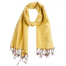 Handcrafted scarf with Yellow Stripes in pure Fairtrade cotton
