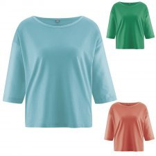Hemp box-shaped blouse
