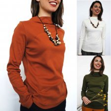 High neck shirt woman Gabriela in fair trade organic cotton