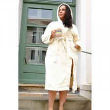 Hooded Terry kimono bathrobe in organic cotton