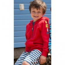 Hoody boy red zip through in organic cotton