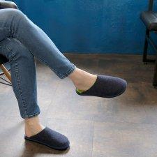Hygge Bicolor Jeans-Green Fluo slipper in wool felt