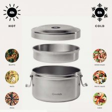 Insulated stainless steel double wall Bento box with 2 compartments