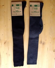 Knee high light socks in dyed organic cotton GREY/BLACK
