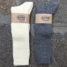 Knee-high socks in organic wool and organic cotton