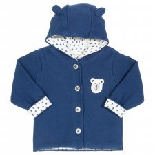 Knitted jacket with hood in organic cotton