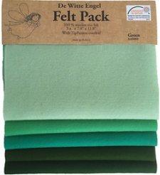Felt Pack Verde - 5 fogli Feltro di lana naturale