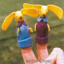 Kit Burattini a dito: Coniglietti in lana naturale fai-da-te