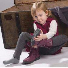 Legging bimba a costine in lana merino biologica
