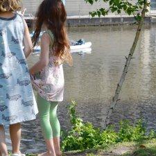 Leggings bambina Corti in cotone biologico Verde chiaro